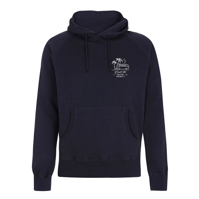 Outlaw Bus Navy hoody -front - Cool Flo
