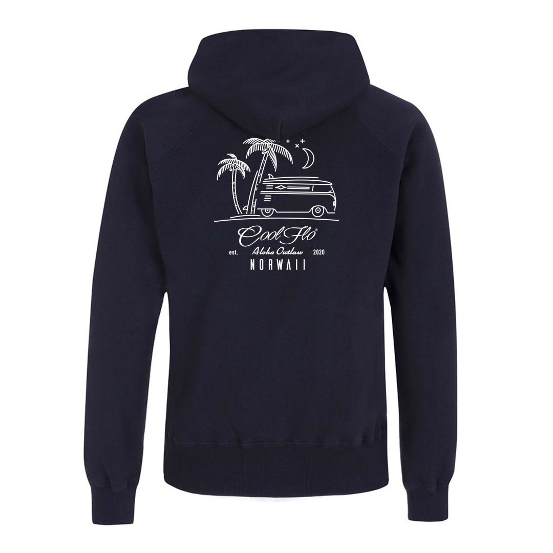 Outlaw Bus navy zip hoody - back - Cool Flo