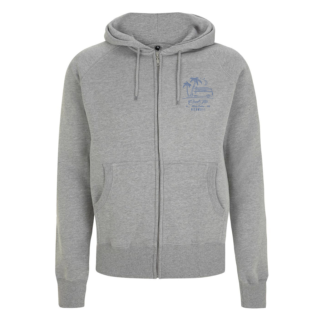 Outlaw Bus grey zip hoody - front - Cool Flo