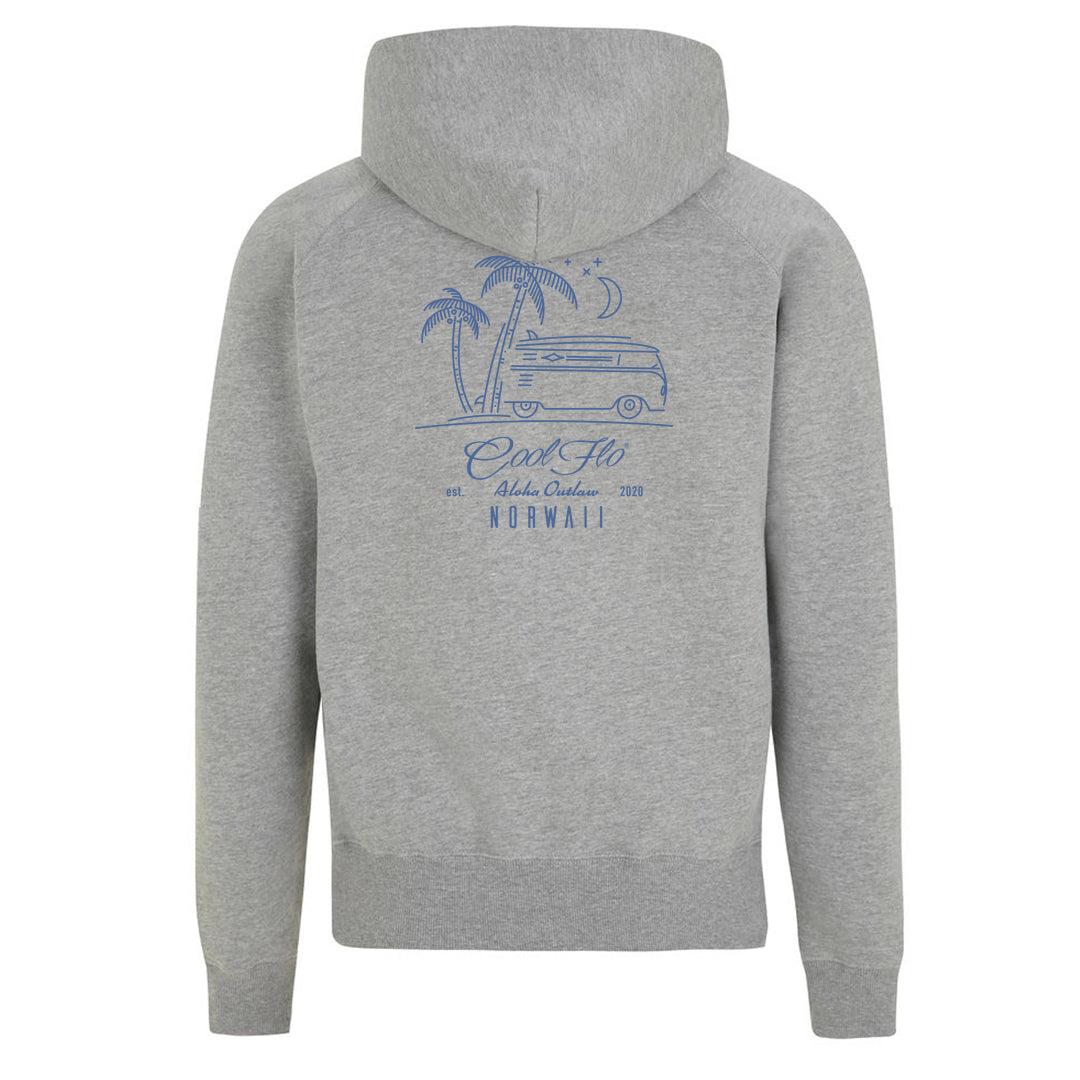 Outlaw Bus grey zip hoody - back - Cool Flo
