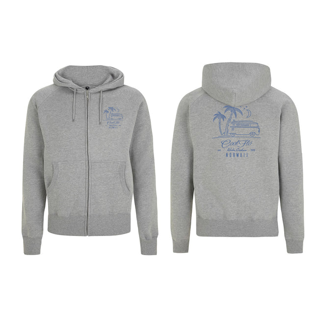 Outlaw Bus grey zip hoody - front & back - Cool Flo
