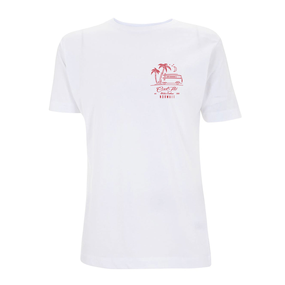 Outlaw Bus white t-shirt front - Cool Flo