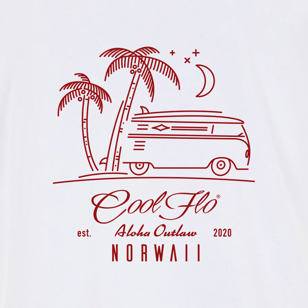 Outlaw Bus white t-shirt close-up - Cool Flo
