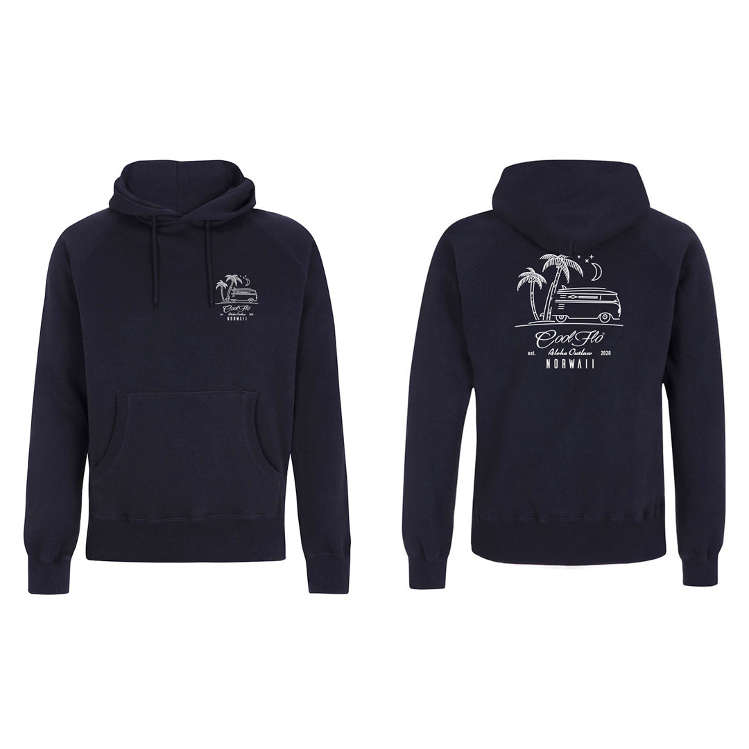 Outlaw Bus Navy hoody - front & back - Cool Flo