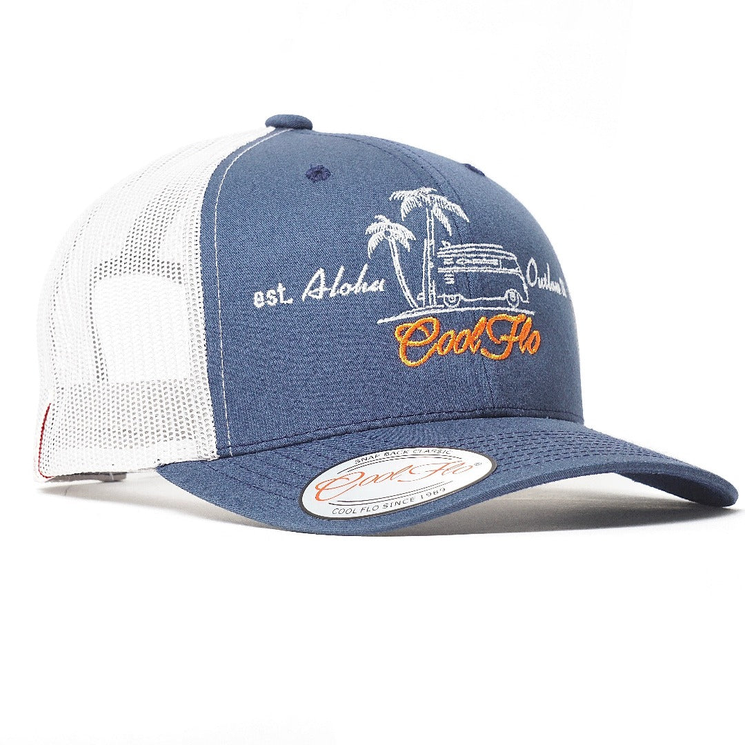 Aloha Outlaw two-tone trucker cap - VW bus and palm tree design