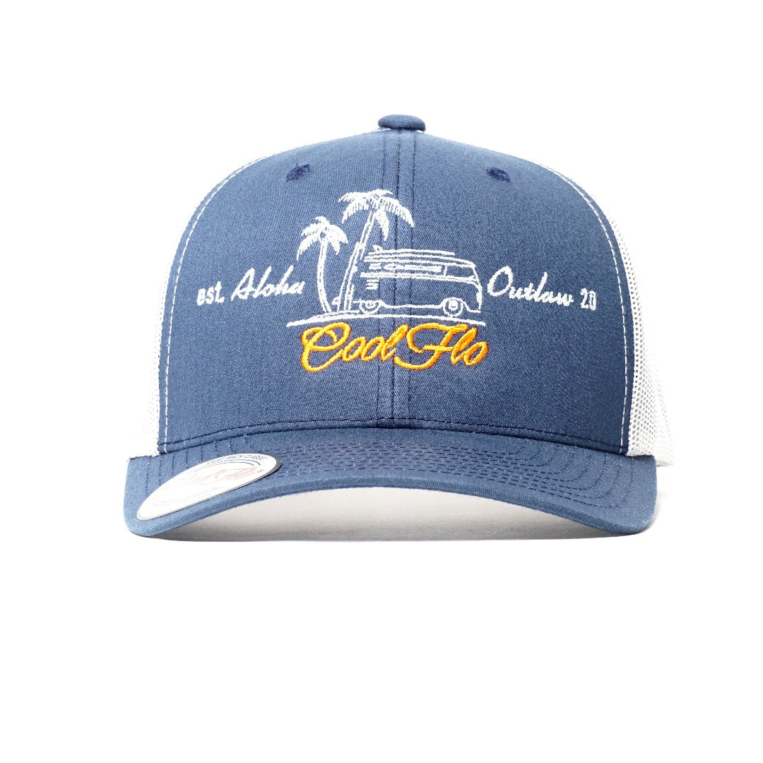Outlaw bus two-tone trucker cap - front view - Cool Flo