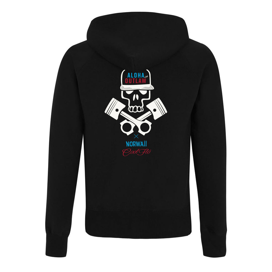 Skull & Pistons Black hoody - back- Cool Flo