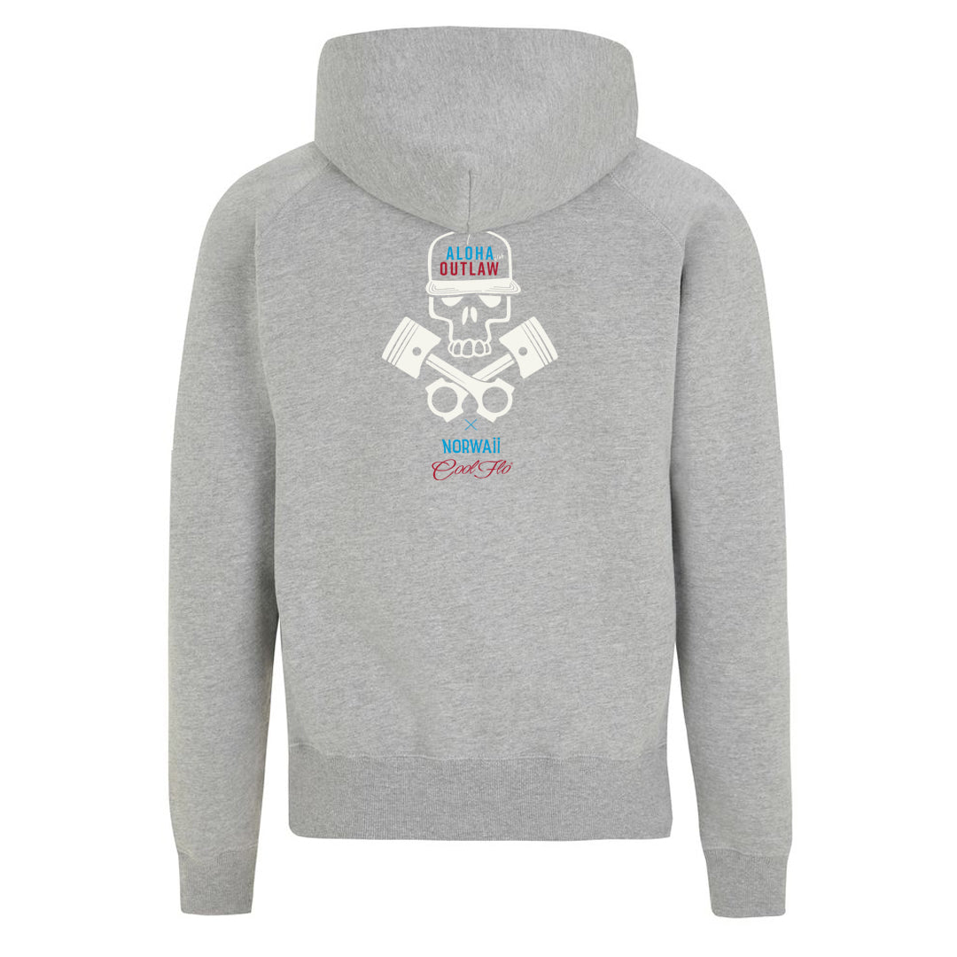 Skull & Pistons Grey zip hoody - back- Cool Flo