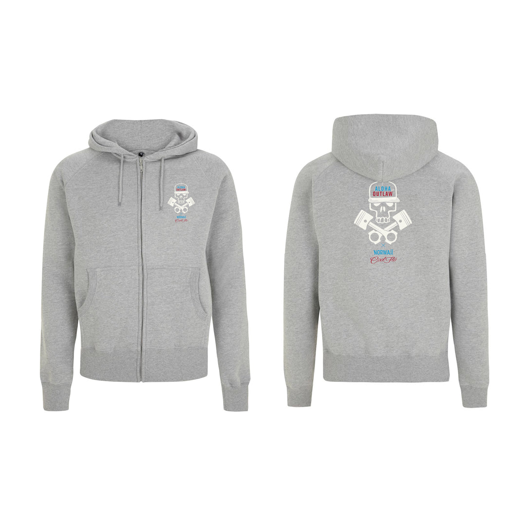 Skull & Pistons Grey zip hoody - front & back- Cool Flo