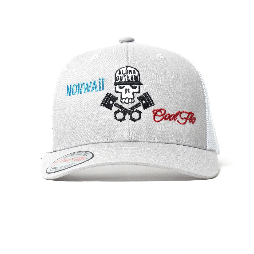Cool Flo Skull & Pistons Grey & White Two-tone trucker cap - front view