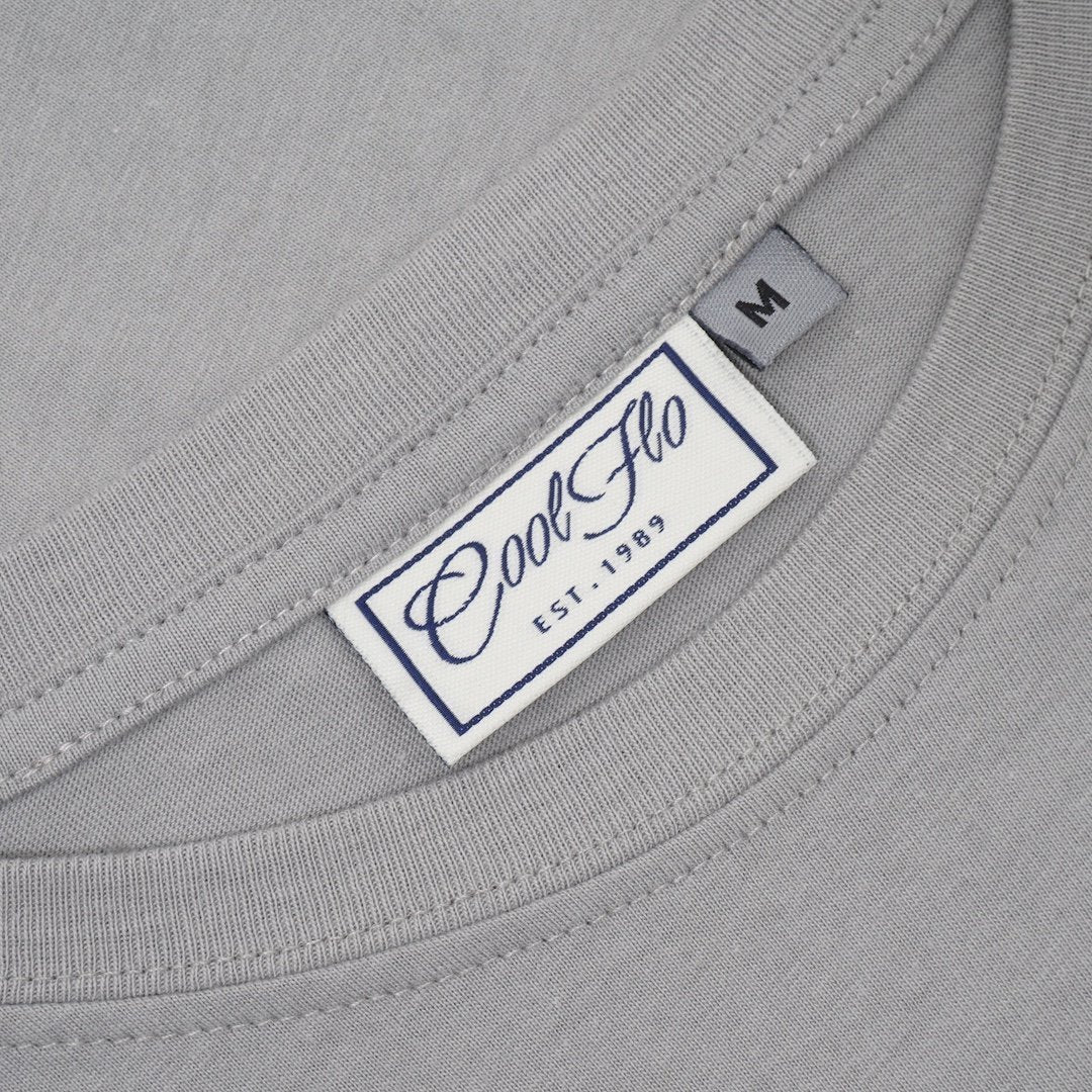 Cool Flo Le Mans t-shirt neck label in Sport Grey