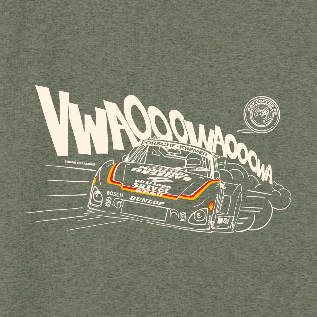 Gas Coffee - Khaki  Porsche 935 sweatshirt - close-up