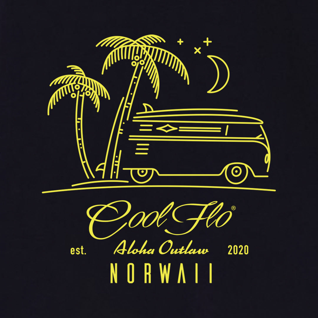Outlaw Bus Navy t-shirt close-up - Cool Flo