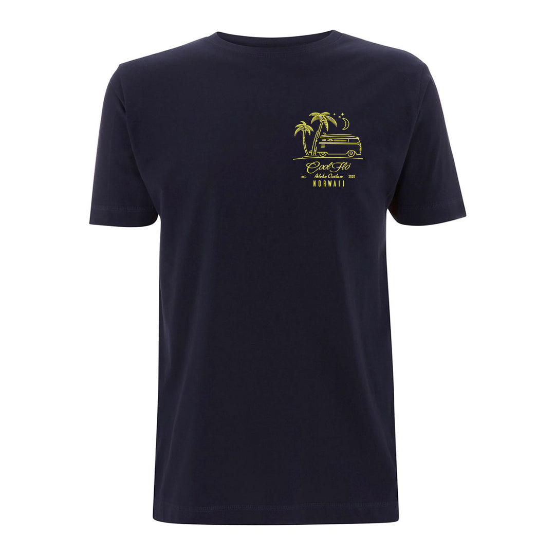 Outlaw Bus Navy t-shirt front - Cool Flo