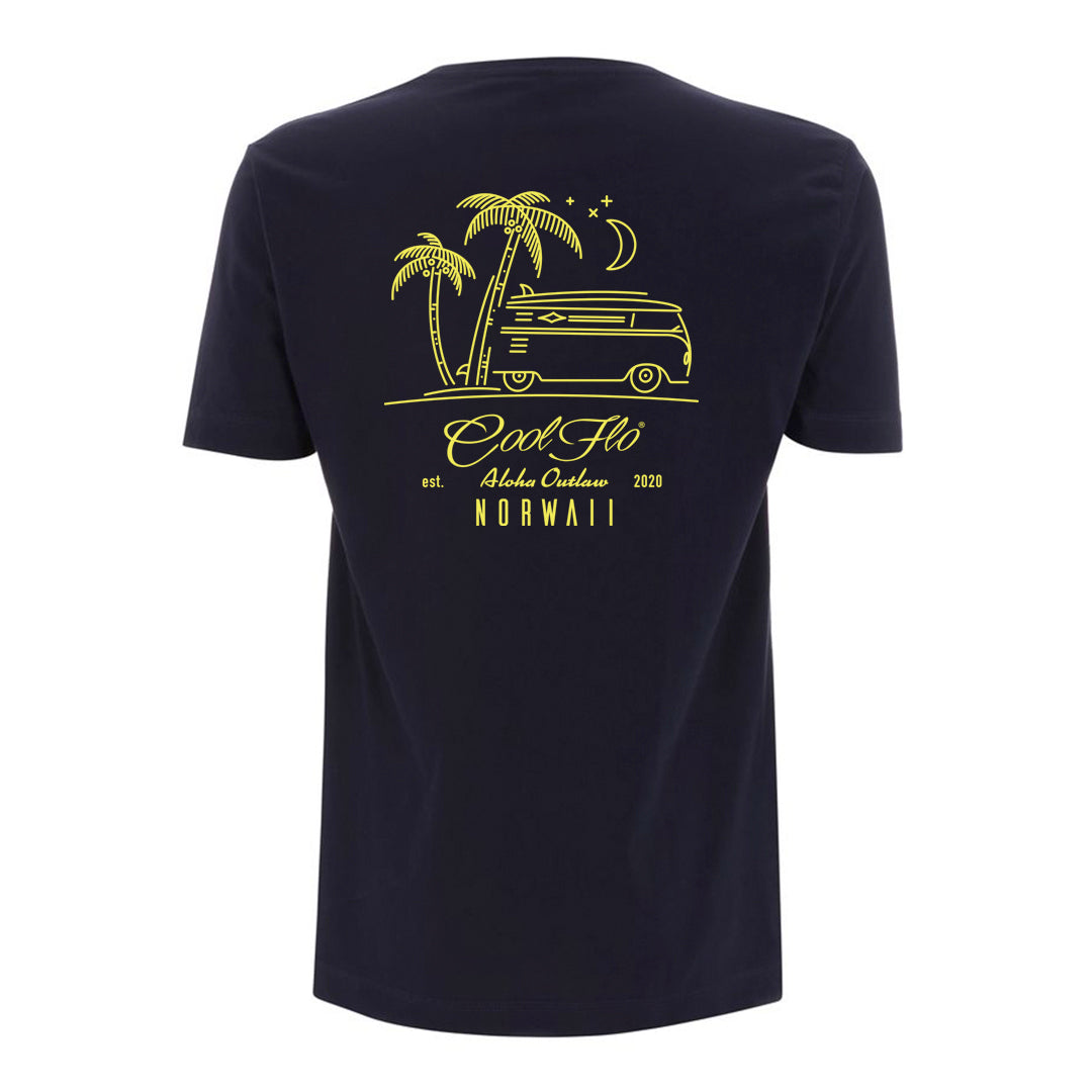 Outlaw Bus Navy t-shirt back - Cool Flo