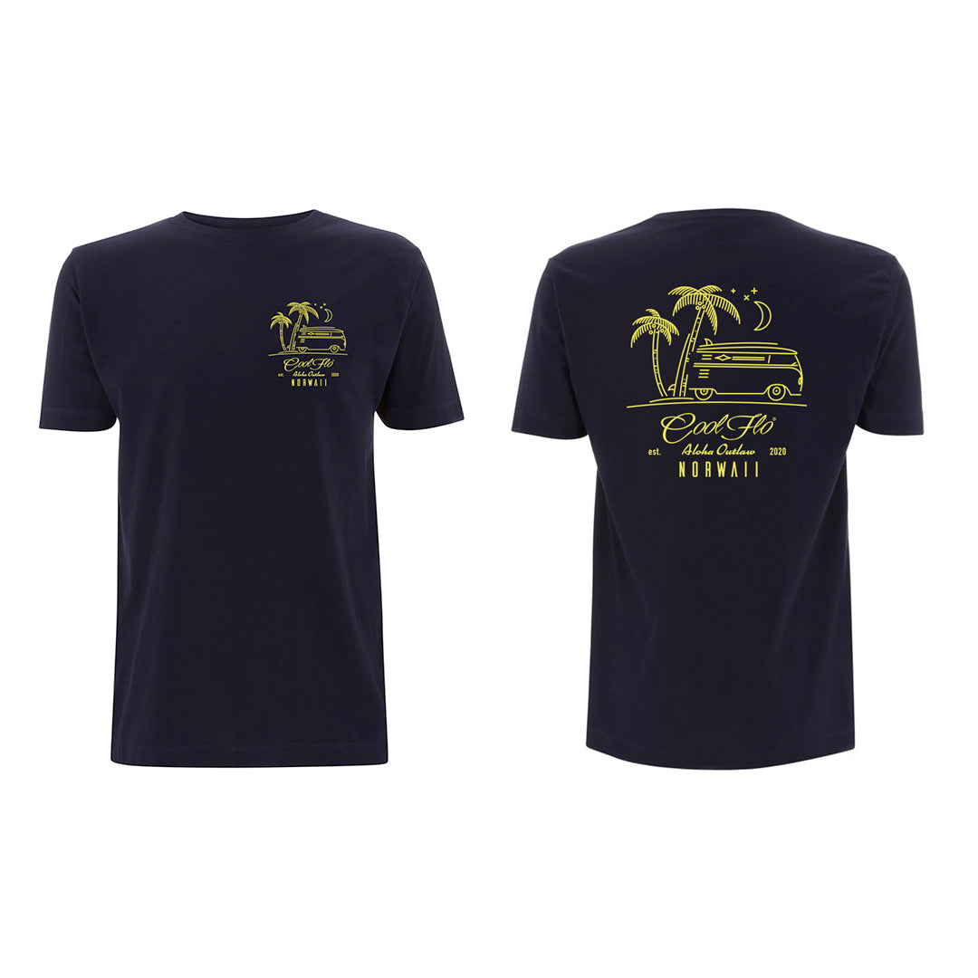 Outlaw Bus Navy t-shirt front&back - Cool Flo