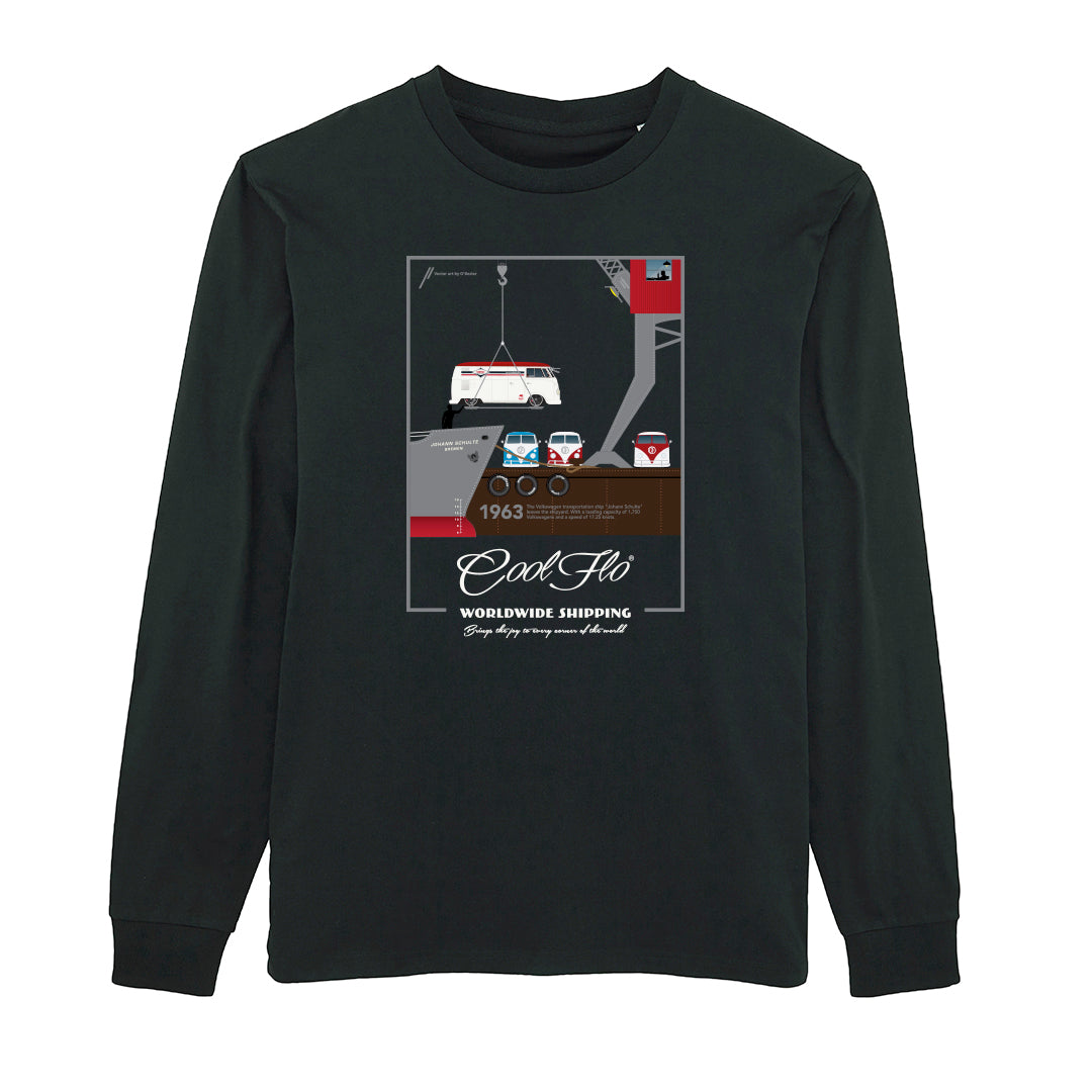 Worldwide Shipping black long-sleeve t-shirt main pic