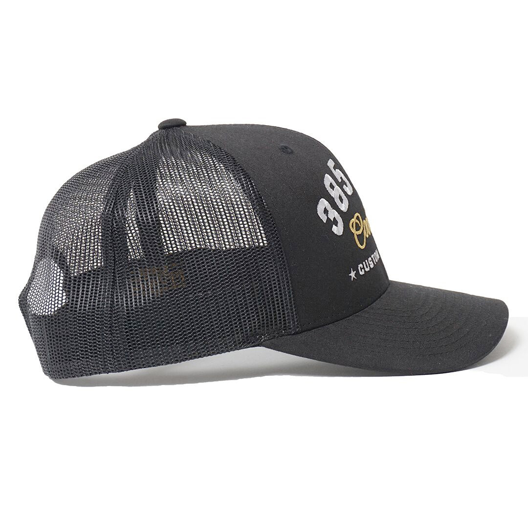 CUSTOM EDITION Reg. Trucker Cap - black side view - Cool Flo
