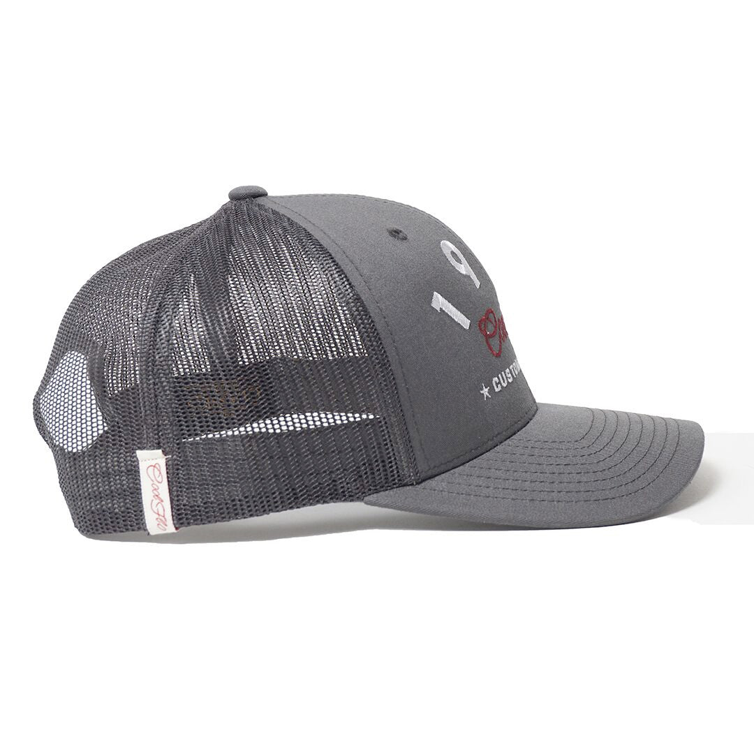 CUSTOM EDITION Reg. Trucker Cap - grey side view - Cool Flo