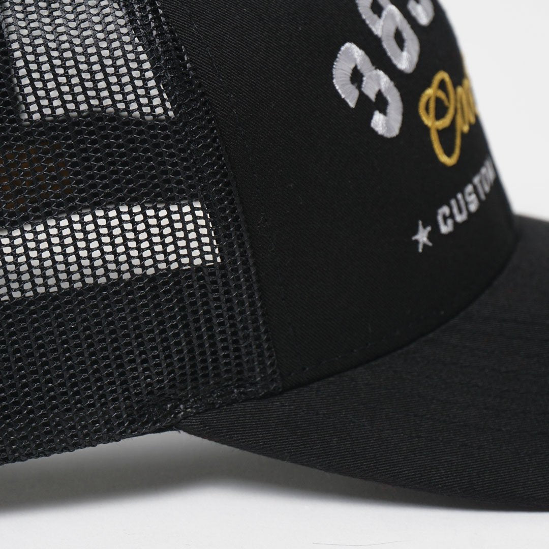 CUSTOM EDITION Reg. Trucker Cap - black detail shot - Cool Flo
