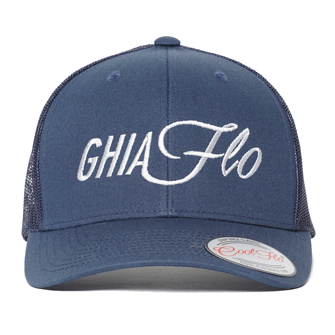 Front view of Ghia Flo Navy Trucker Cap - Cool Flo