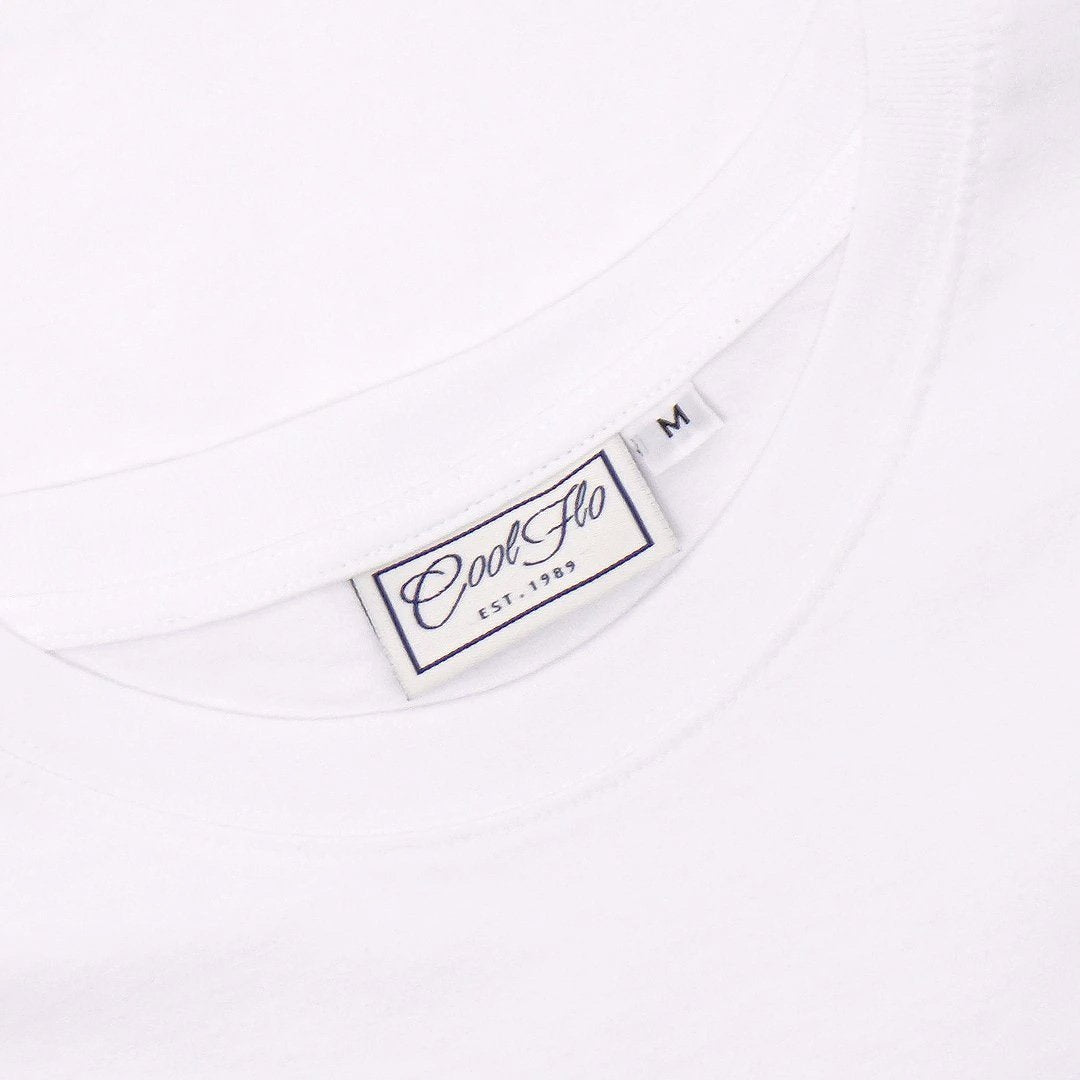 Outlaw Bus white t-shirt neck label