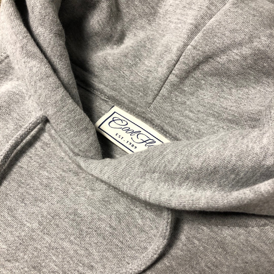Dr Cool Grey Hoody - neck label - Cool Flo