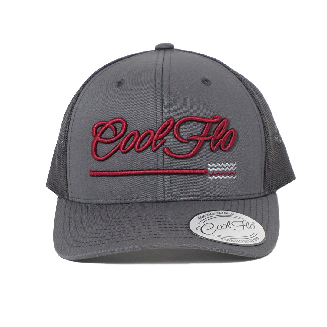 3D Script Grey Treading Waves Trucker Cap - Cool Flo