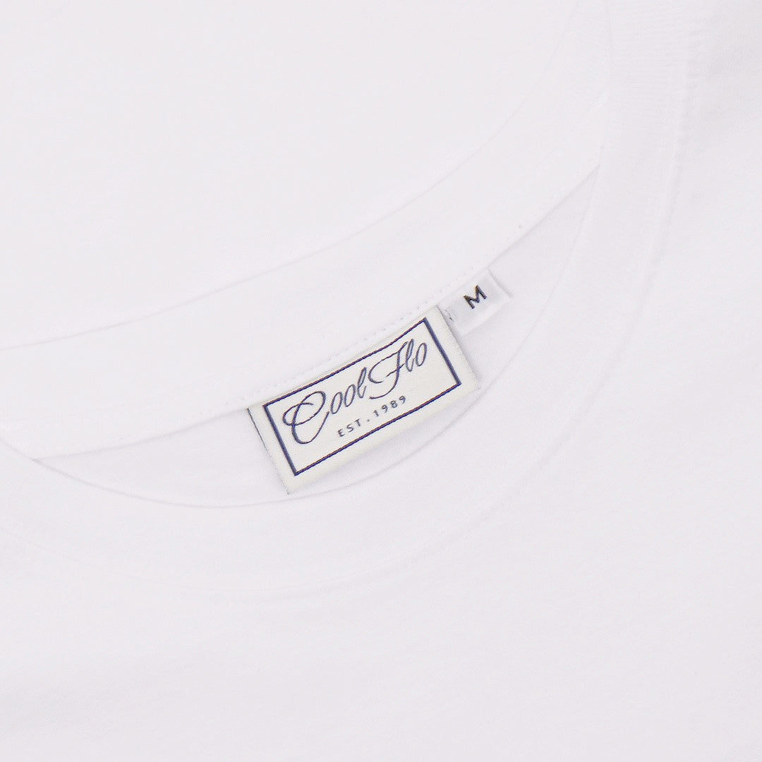 Cool Flo white t-shirt neck label