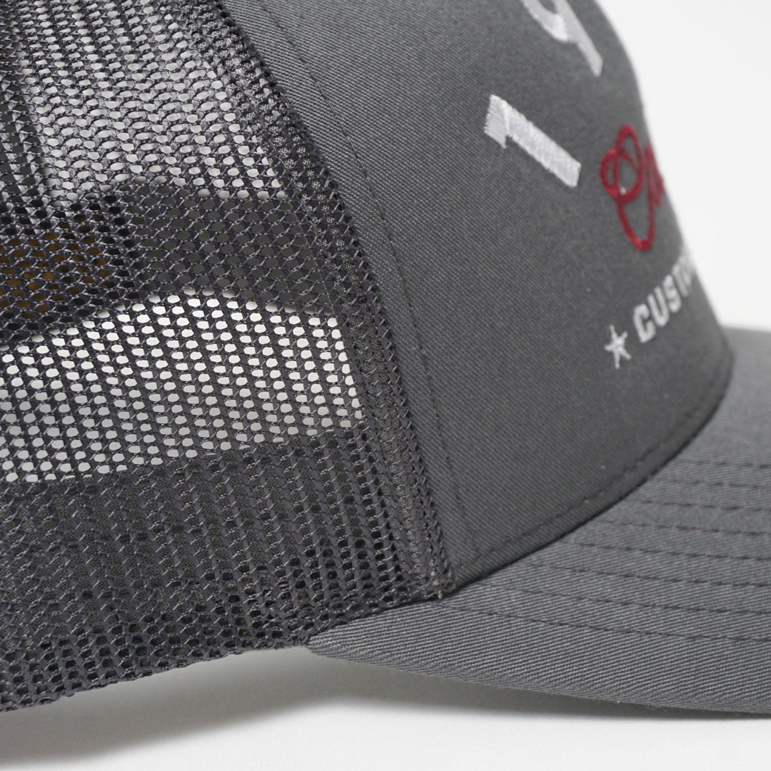 CUSTOM EDITION Reg. Trucker Cap - grey detail shot - Cool Flo