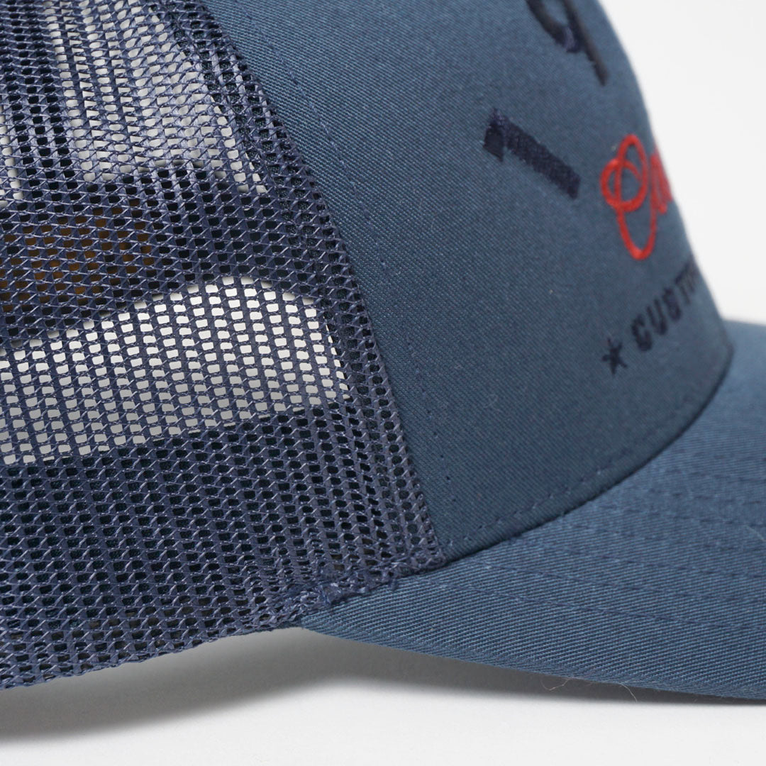 CUSTOM EDITION Reg. Trucker Cap -navy detail shot - Cool Flo