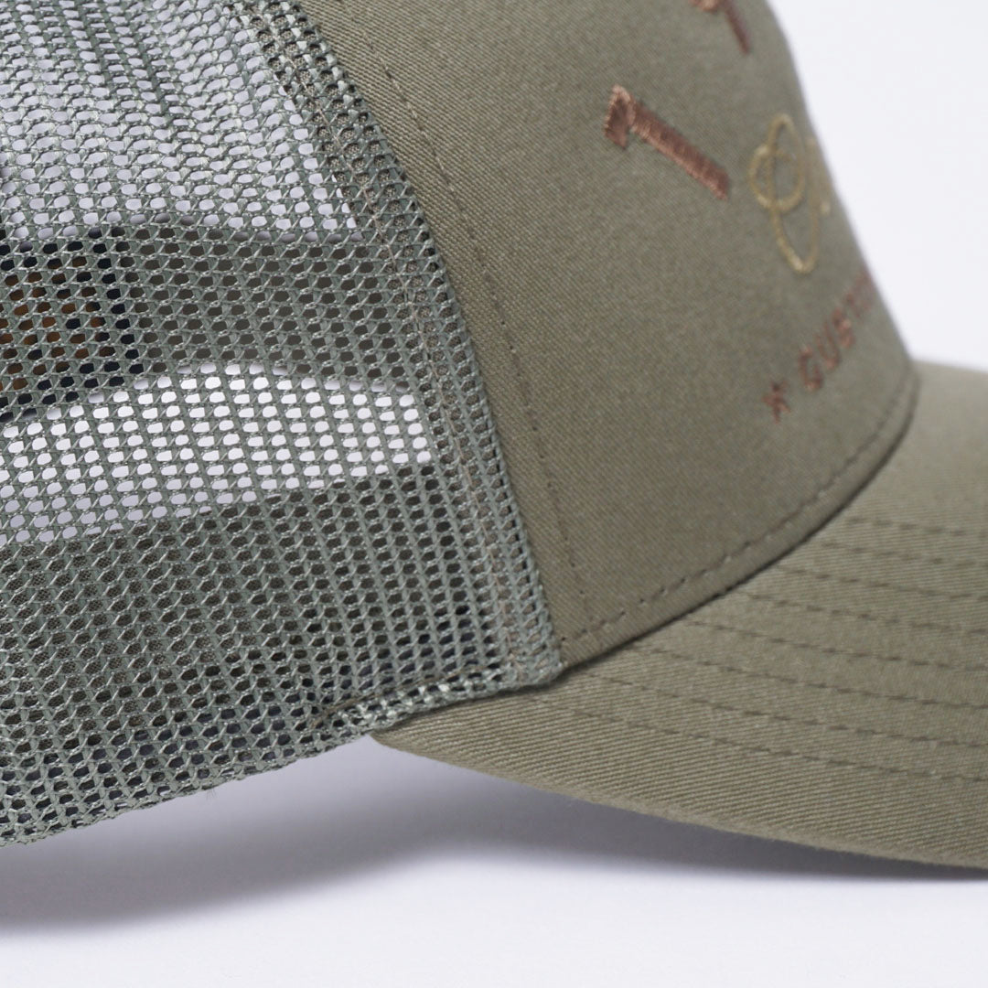 CUSTOM EDITION Reg. Trucker Cap - green detail shot - Cool Flo