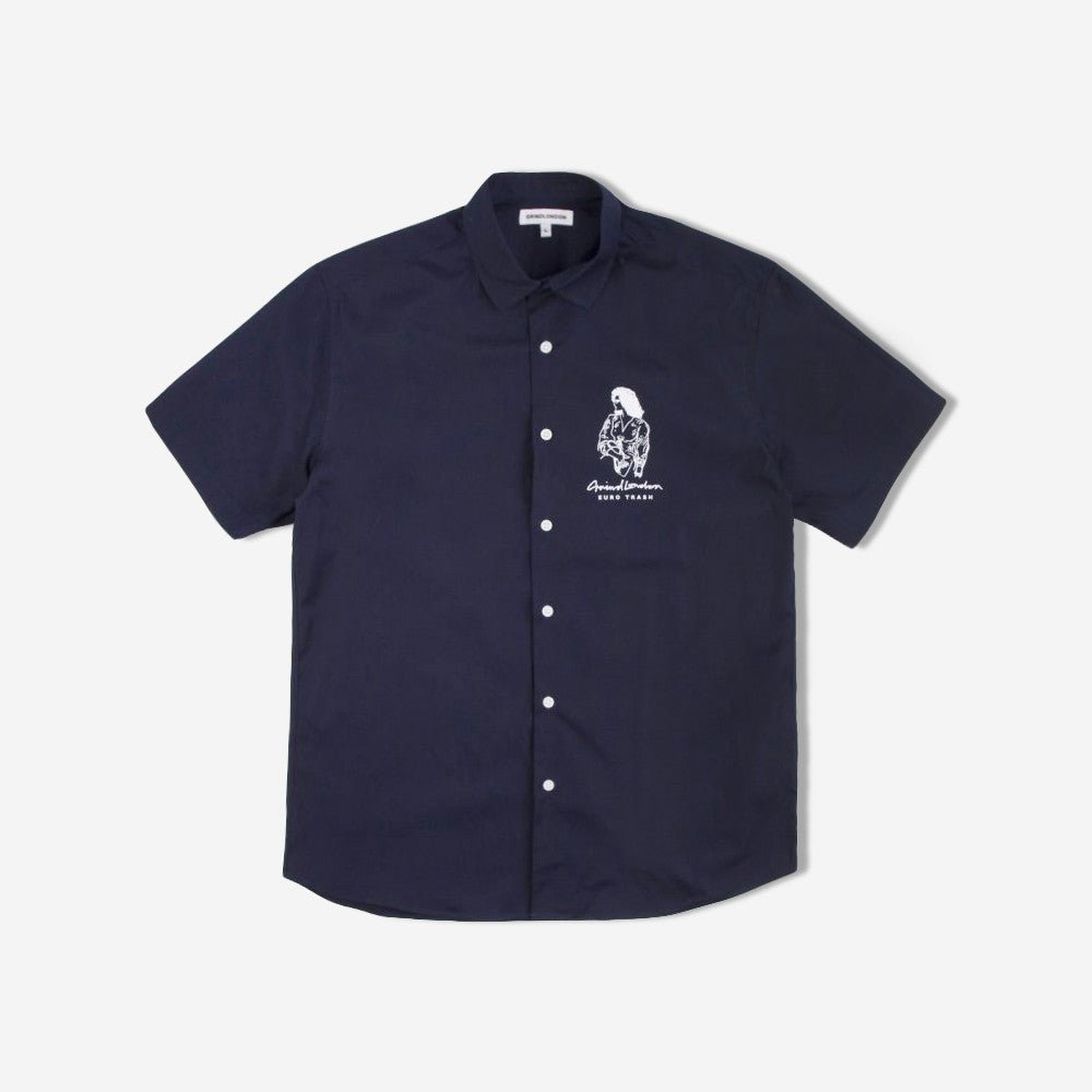 grind london Euro Trash Short Sleeve Shirt - Navy