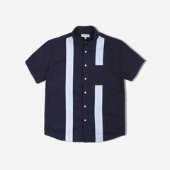Panel Short Sleeve Shirt - Navy/Light Blue