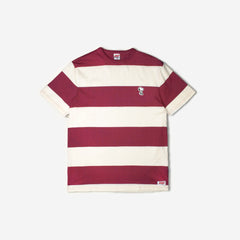 TSPTR - SNOOPY BORDER APPLIQUE T-SHIRT - ANTIQUE WHITE/BURGUNDY