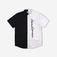 Split Short Sleeve Shirt - Black/White