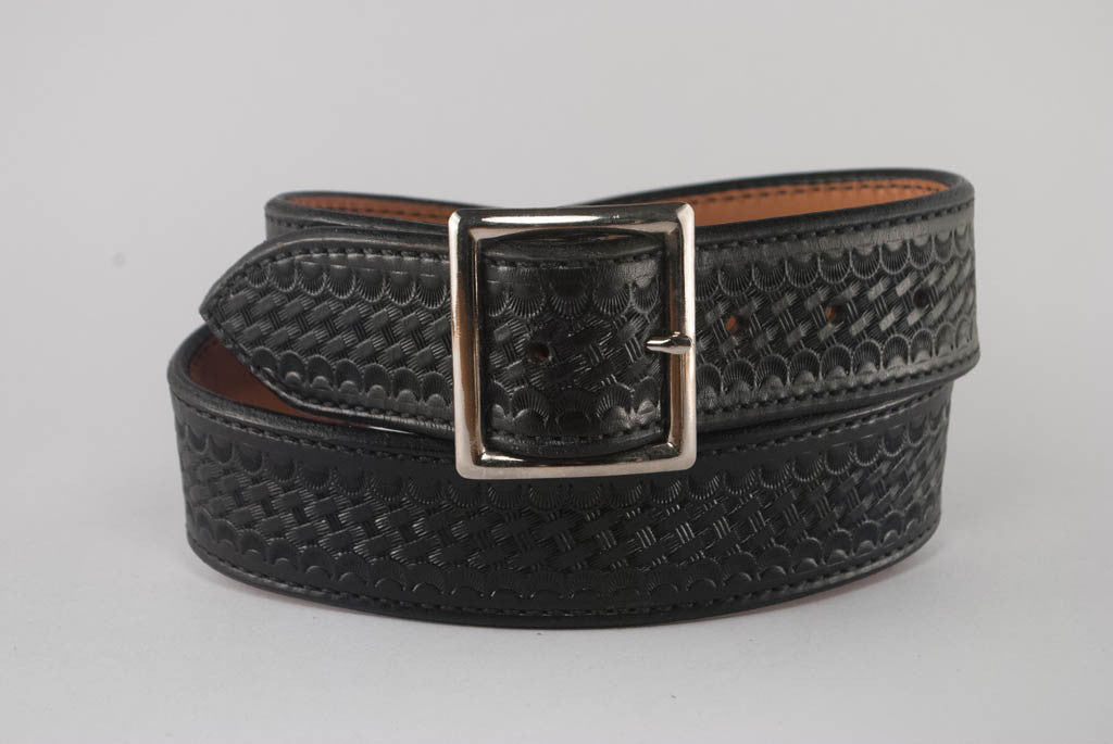 "1.75"" Dual Layer Black Basketweave Belt"