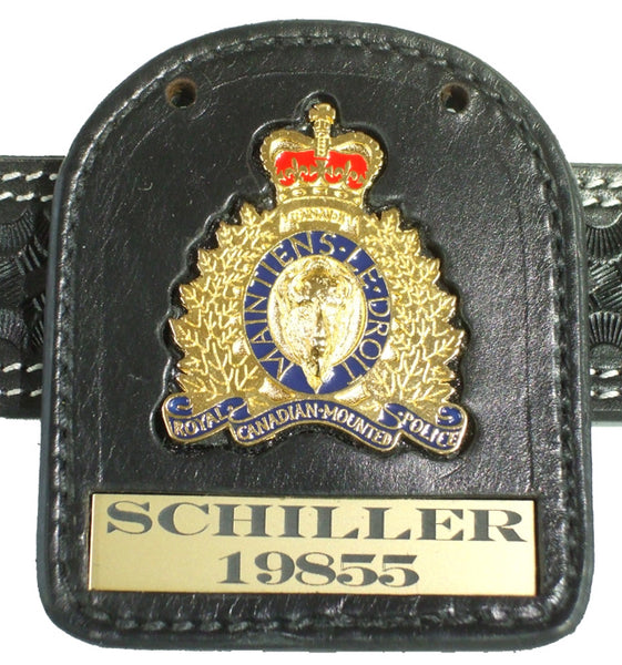 Rcmp Crest Badge Carrier 4 With Badge Gray Jay Leather