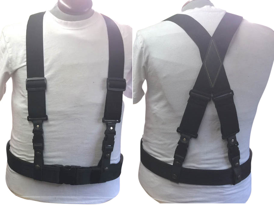 "Duty Suspenders--""X"" STYLE-POLYPROPYLENE/ ELASTIC -1.5"" or 2"" Straps"