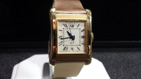 Bedat & Co No. 7 18k Yellow Gold Automatic 728 Watch New Mocha Satin Band