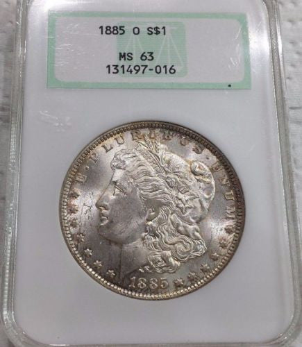 1885-O Morgan Silver Dollar - MS63 * NGC Old Fat Holder * Rim Tones!