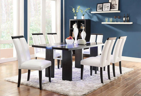 Kenneth Contemporary Black Dining Table with LED Lighting