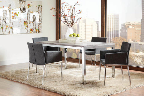 Contemporary Everyday Dark Grey and Chrome Dining Chair