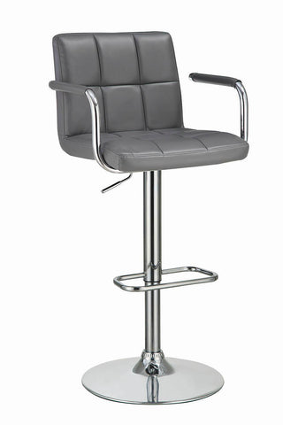 Contemporary Grey and Chrome Adjustable Bar Stool with Arms