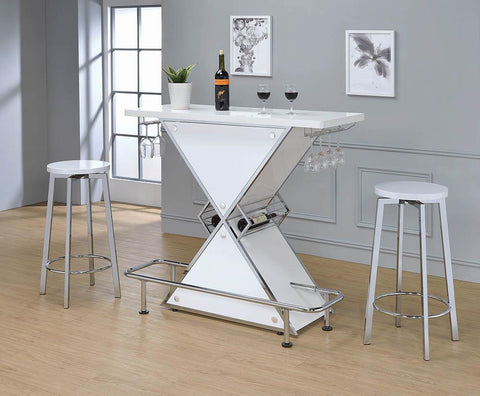 Contemporary Metal White Bar Stool