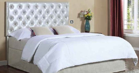 Carlo Silver Upholstered Queen/Full LED Headboard