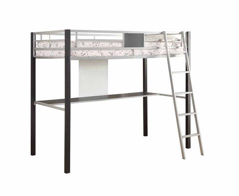 Leclair Contemporary Black and Silver Loft Bed