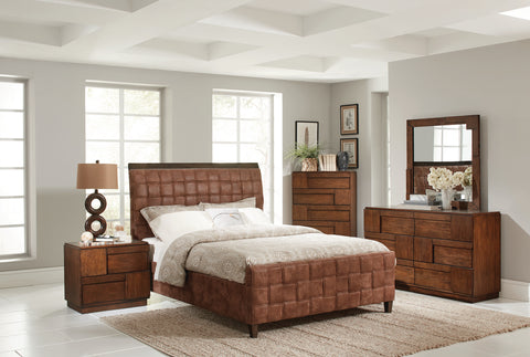 Gallagher Brown Microfiber Upholstered King Bed