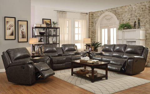 Wingfield Charcoal Reclining Three-Piece Living Room Set