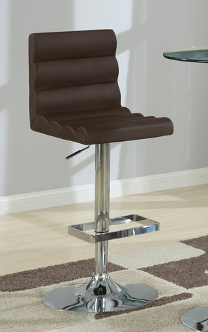Contemporary Brown Adjustable Roll Back Bar Stool